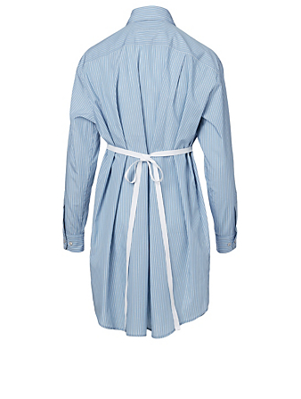 MM6 MAISON MARGIELA Poplin Shirt Dress In Pinstripe Print Women's Blue