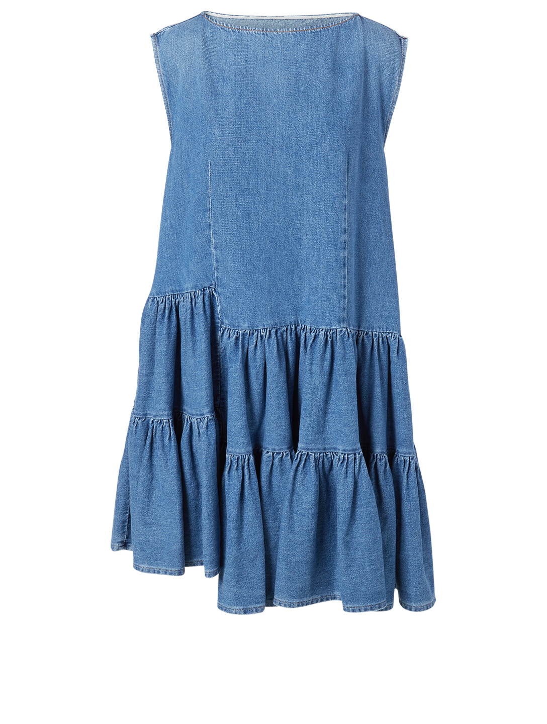 MM6 MAISON MARGIELA Asymmetric Ruffle Denim Dress Women's Blue