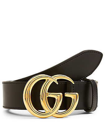 GUCCI Leather Belt With Double G Buckle Men's Black
