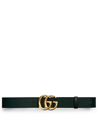 GUCCI Leather Belt With Double G Buckle Men's Green