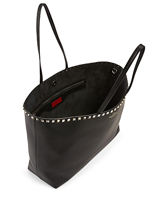 VALENTINO GARAVANI Rockstud Leather Tote Bag Women's Black