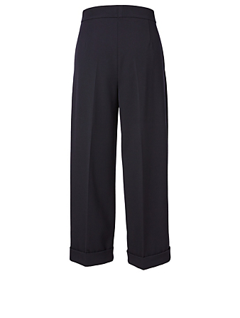 AKRIS Wool Cropped High-Waisted Wide-Leg Pants Women's Blue