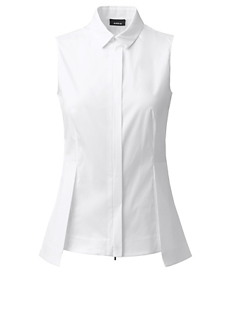 AKRIS Cotton Stretch Sleeveless Shirt With Zipper Women's White