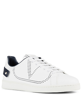 VALENTINO GARAVANI Backnet Perforated Leather Sneakers Men's White