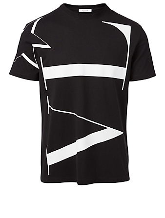 VALENTINO Cotton Star T-Shirt With VLTN Logo Men's Black
