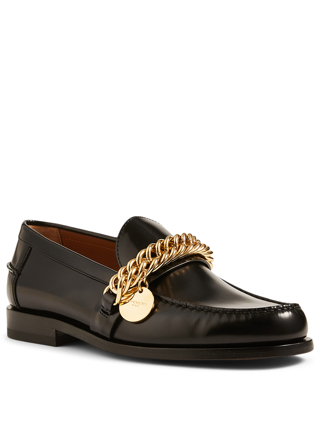 GIVENCHY Leather Loafers With Chain Women's Black