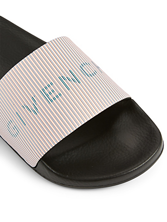 GIVENCHY Leather And Rubber Logo Slide Sandals Women's Pink