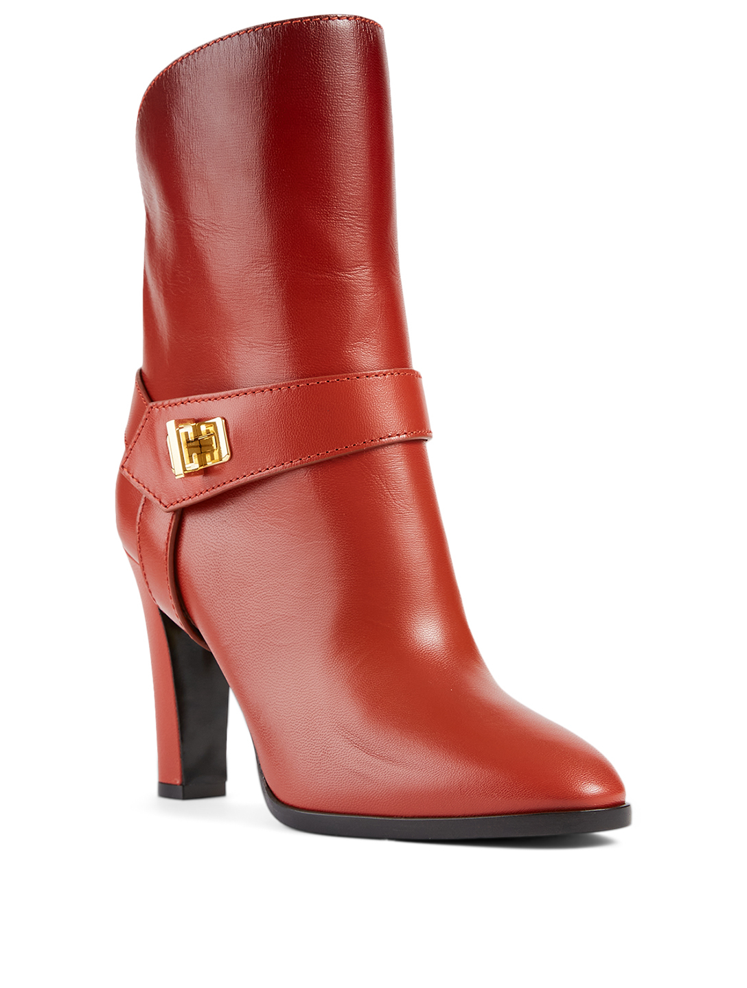 GIVENCHY Eden Leather Heeled Ankle Boots Women's Red