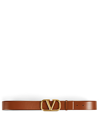 VALENTINO GARAVANI VLOGO Wide Reversible Leather Belt Women's Brown