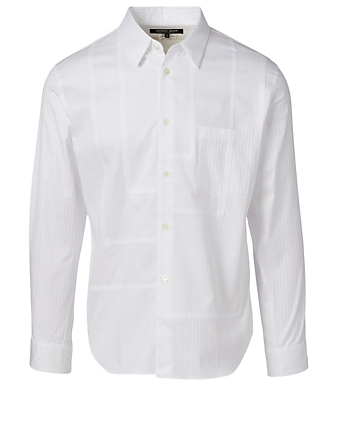 COMME DES GARÇONS HOMME DEUX Cotton Patchwork Shirt In Striped Print Men's White