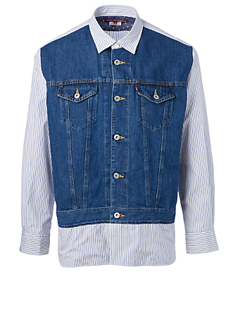 JUNYA WATANABE Cotton And Linen Shirt With Denim Front Men's Blue