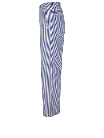 JUNYA WATANABE Cotton Pants In Striped Print Men's Blue