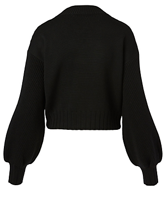 VALENTINO Wool Cropped Sweater With Lace Women's Black