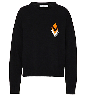 VALENTINO Wool And Cashmere Sweater With Diamond Logo Women's Black