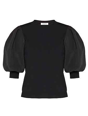 VALENTINO Micro Faille Puff-Sleeve Top Women's Black