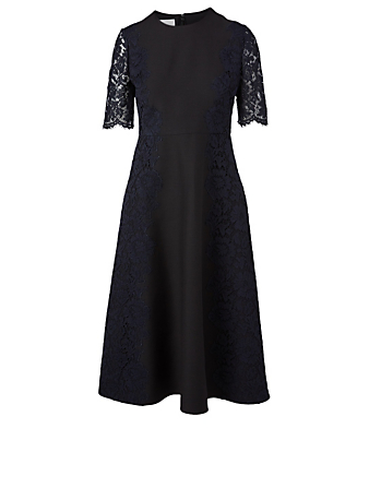 VALENTINO Crepe Couture Lace Midi Dress Women's Black