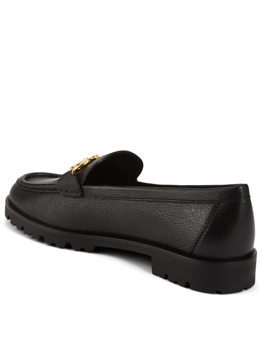 SALVATORE FERRAGAMO Rolo Leather Loafers Women's Black
