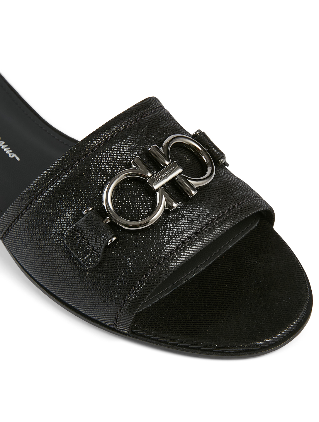 SALVATORE FERRAGAMO Rhodes Suede Slide Sandals Women's Black