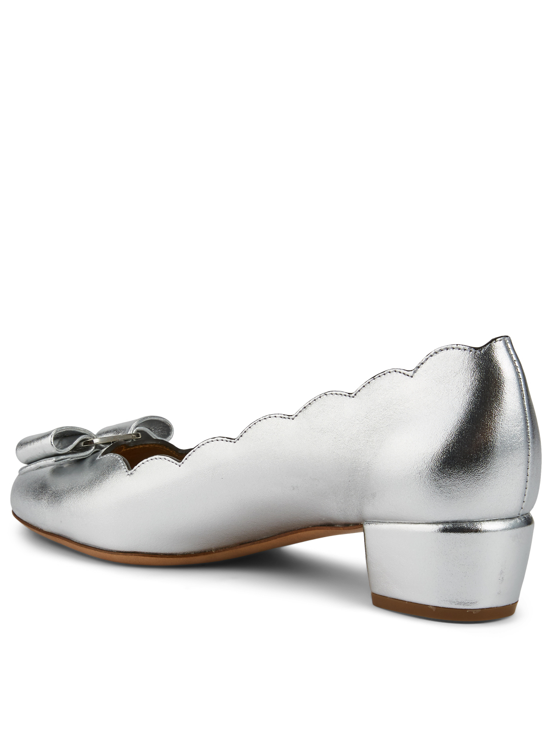 SALVATORE FERRAGAMO Vara Scallop Metallic Leather Pumps Women's Metallic