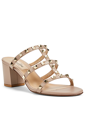 VALENTINO GARAVANI Rockstud Leather Heeled Slide Sandals Women's Beige
