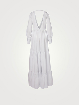 KALITA Circle Cotton Satin Long-Sleeve Maxi Dress H Project White