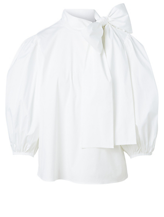 RED VALENTINO Cotton Poplin Top With Bow Women's White