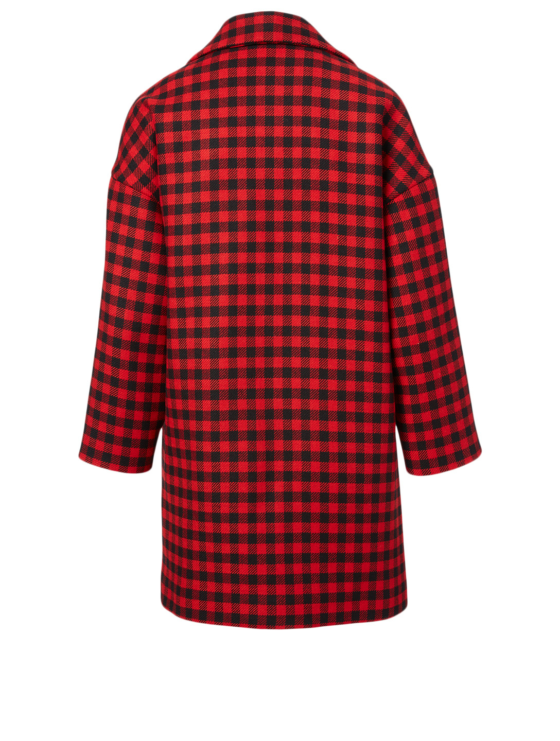 RED VALENTINO Wool-Blend Oversized Coat In Check Print Women's Red