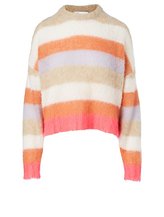 RED VALENTINO Mohair-Blend Sweater In Striped Print Women's Multi