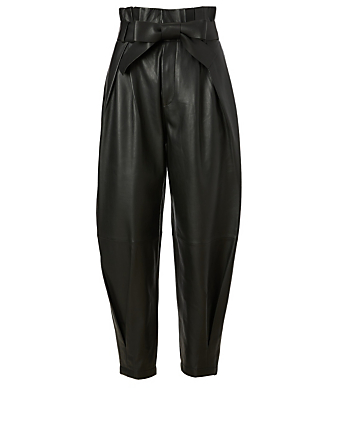 RED VALENTINO Leather High-Waisted Pants With Belt Women's Black