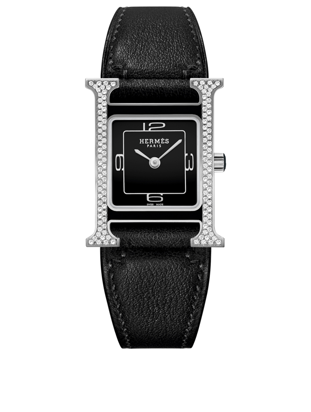 HERMÈS Heure H PM Leather Strap Watch With Diamonds, 21 x 21mm Women's Black