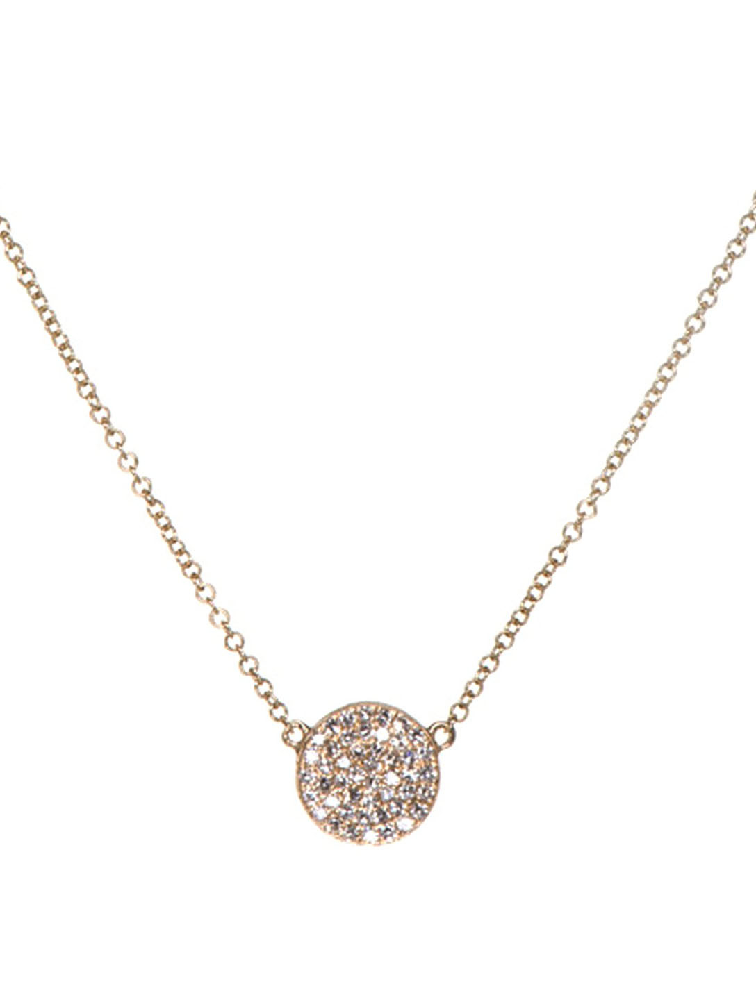 EF COLLECTION Collier en or 14 ct à disque diamanté Femmes Métallique