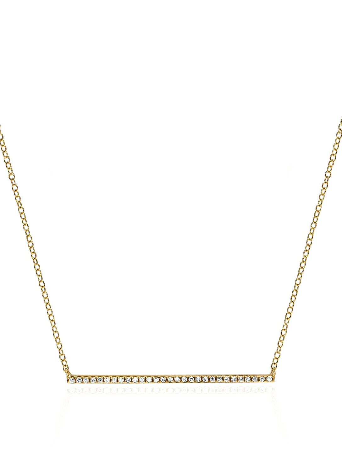 EF COLLECTION 14K Gold Diamond Bar Necklace With Diamonds Women's Metallic