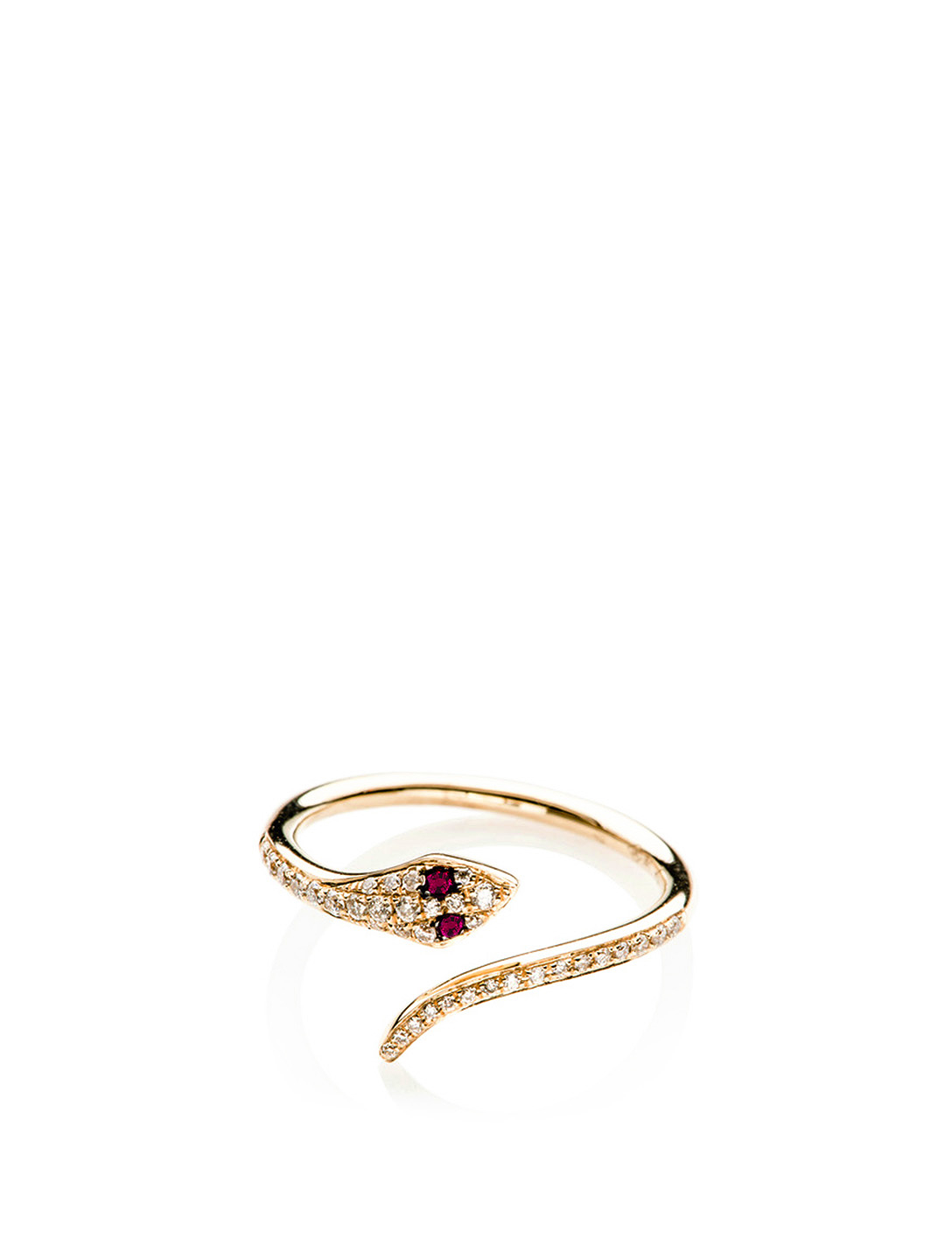 EF COLLECTION Bague en serpent en or 14 ct avec diamants et rubis Femmes Métallique