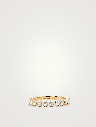 EF COLLECTION Bague empilable en or 14 ct avec diamants sertis clos Femmes Métallique