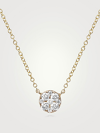 EF COLLECTION 14K Gold Disc Choker Necklace With Diamonds Women's Metallic