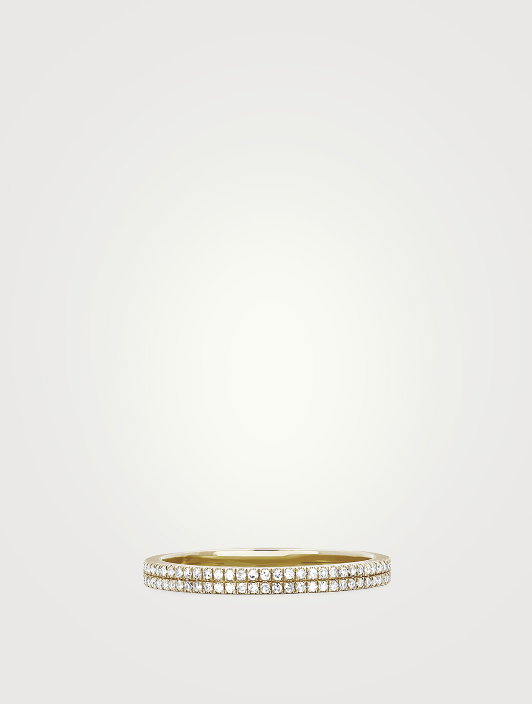 EF COLLECTION 14K Gold Double Eternity Band Ring With Diamonds Women's Metallic