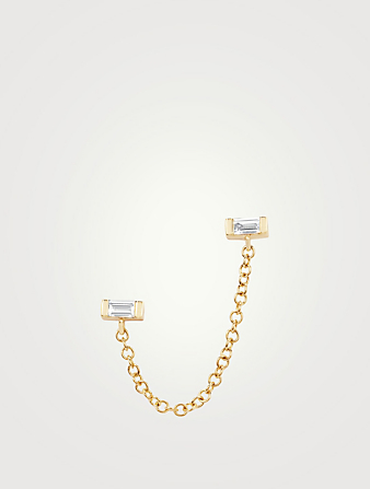 EF COLLECTION 14K Gold Chain Double Stud Earring With Diamonds Women's Metallic