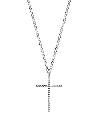 EF COLLECTION 14K White Gold Cross Necklace With Diamonds Women's Metallic