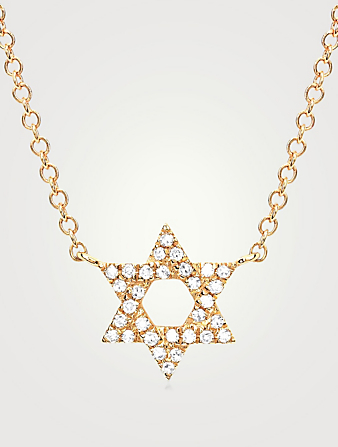 EF COLLECTION 14K Gold Star Of David Necklace With Diamonds Women's Metallic