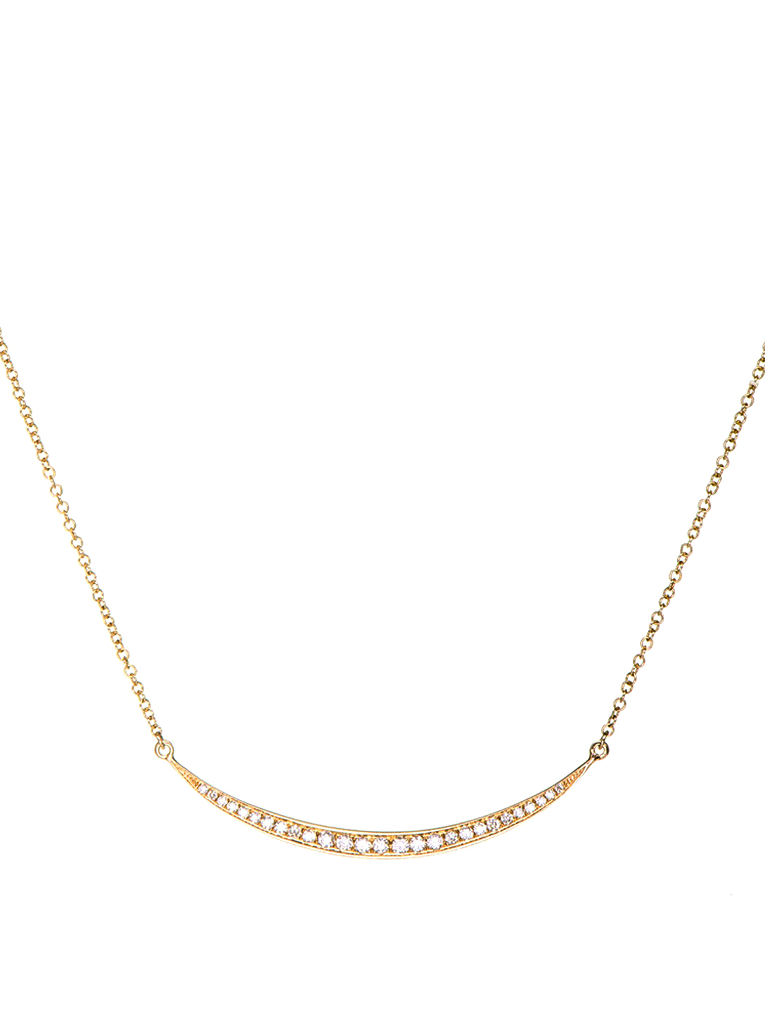 EF COLLECTION Mini 14K Gold Crescent Necklace With Diamonds Women's Metallic