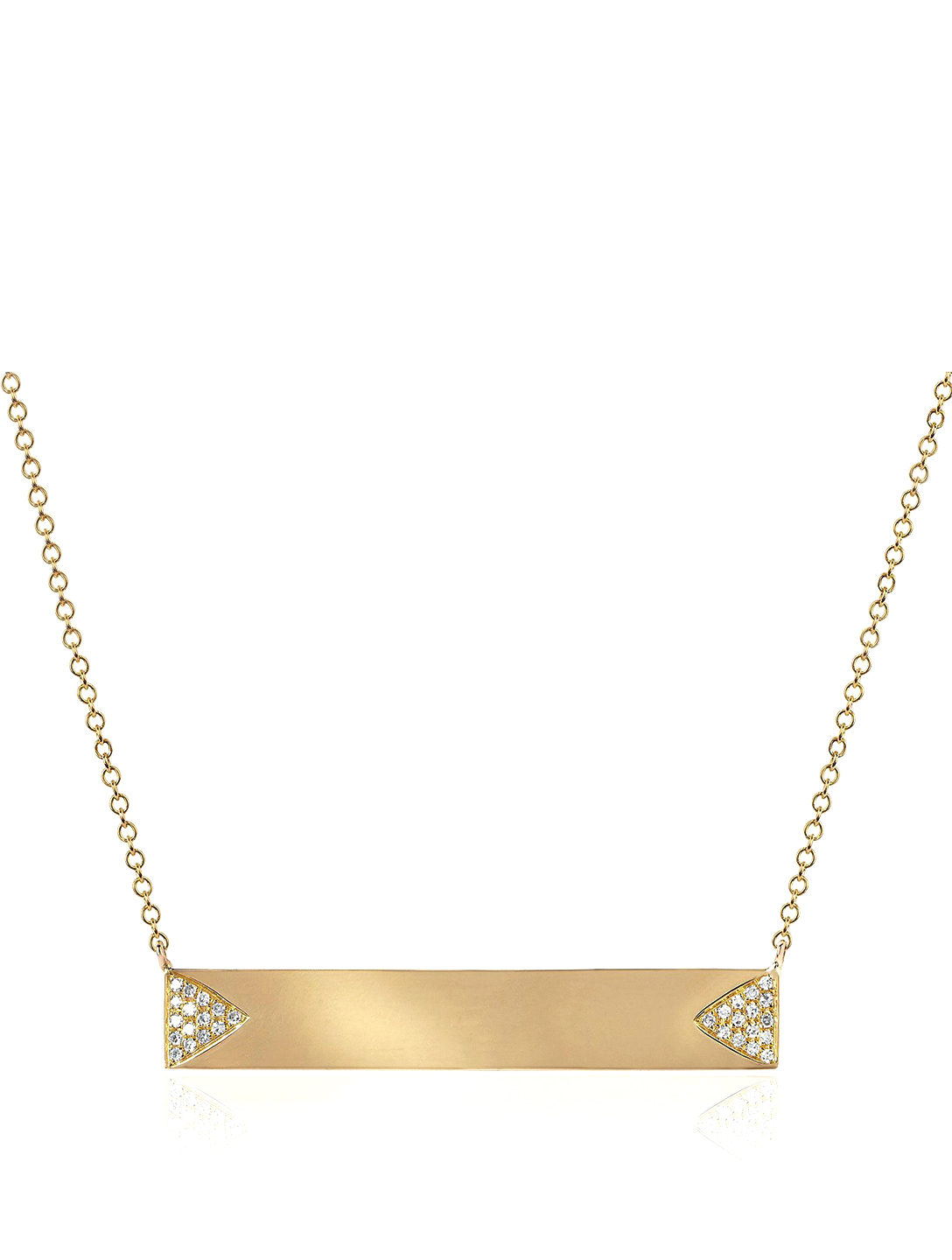 EF COLLECTION 14K Gold Triangle Nameplate Necklace With Diamonds Women's Metallic