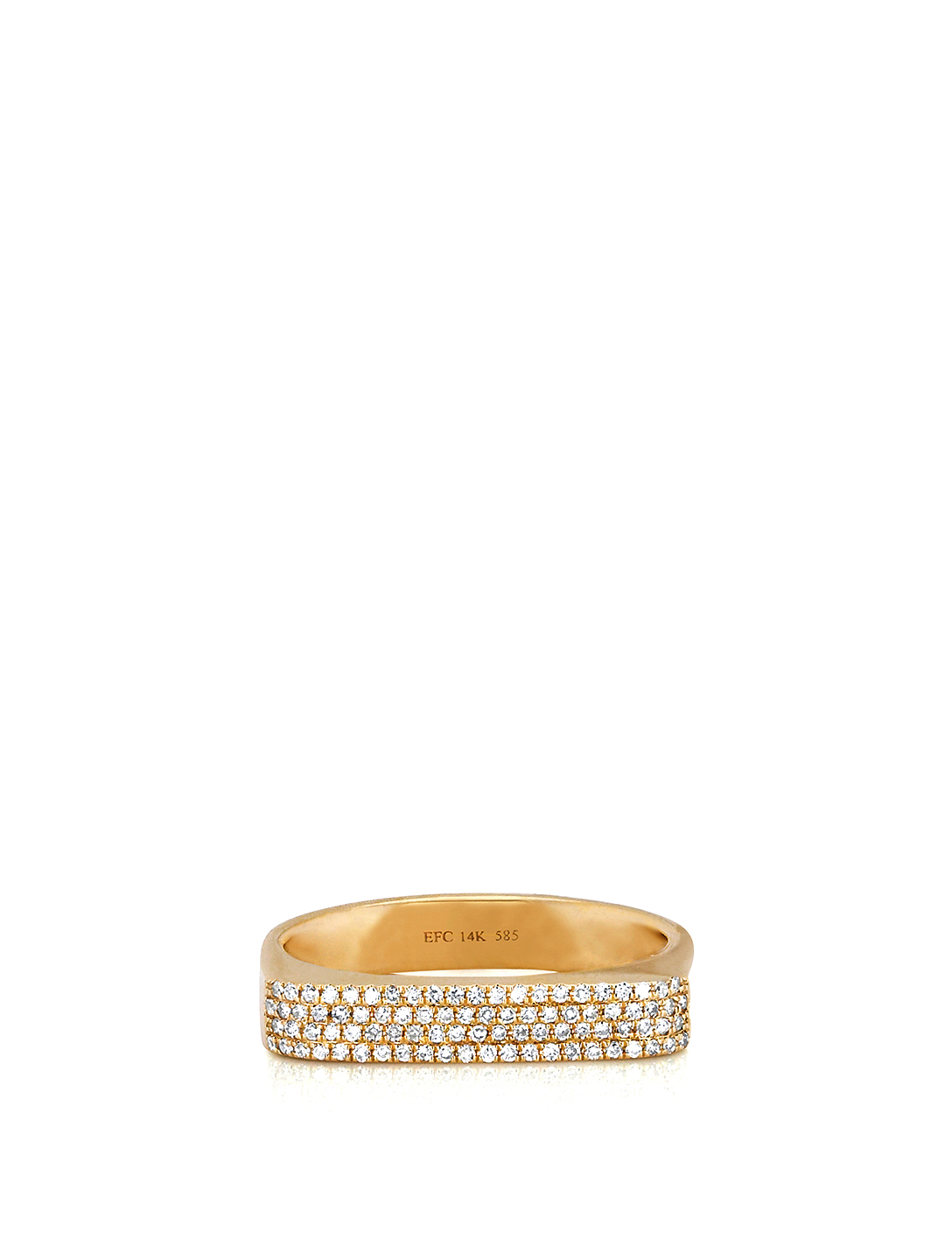 EF COLLECTION 14K Gold Jumbo Bar Ring With Diamonds Women's Metallic