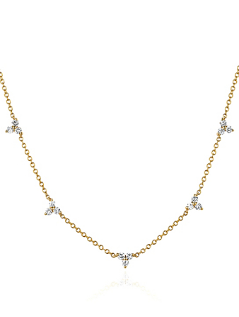 EF COLLECTION Collier à trios diamantés en or 14 ct Femmes Métallique