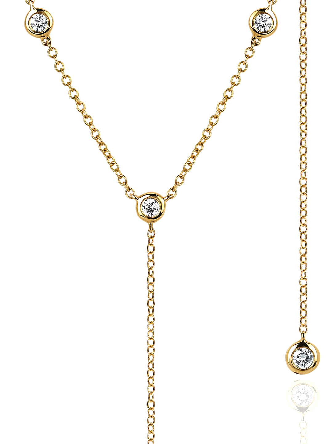 EF COLLECTION 14K Gold Bezel Lariat Necklace With Diamonds Women's Metallic