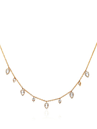 EF COLLECTION 14K Gold Teardrop Necklace With White Topaz And Diamonds Women's Metallic