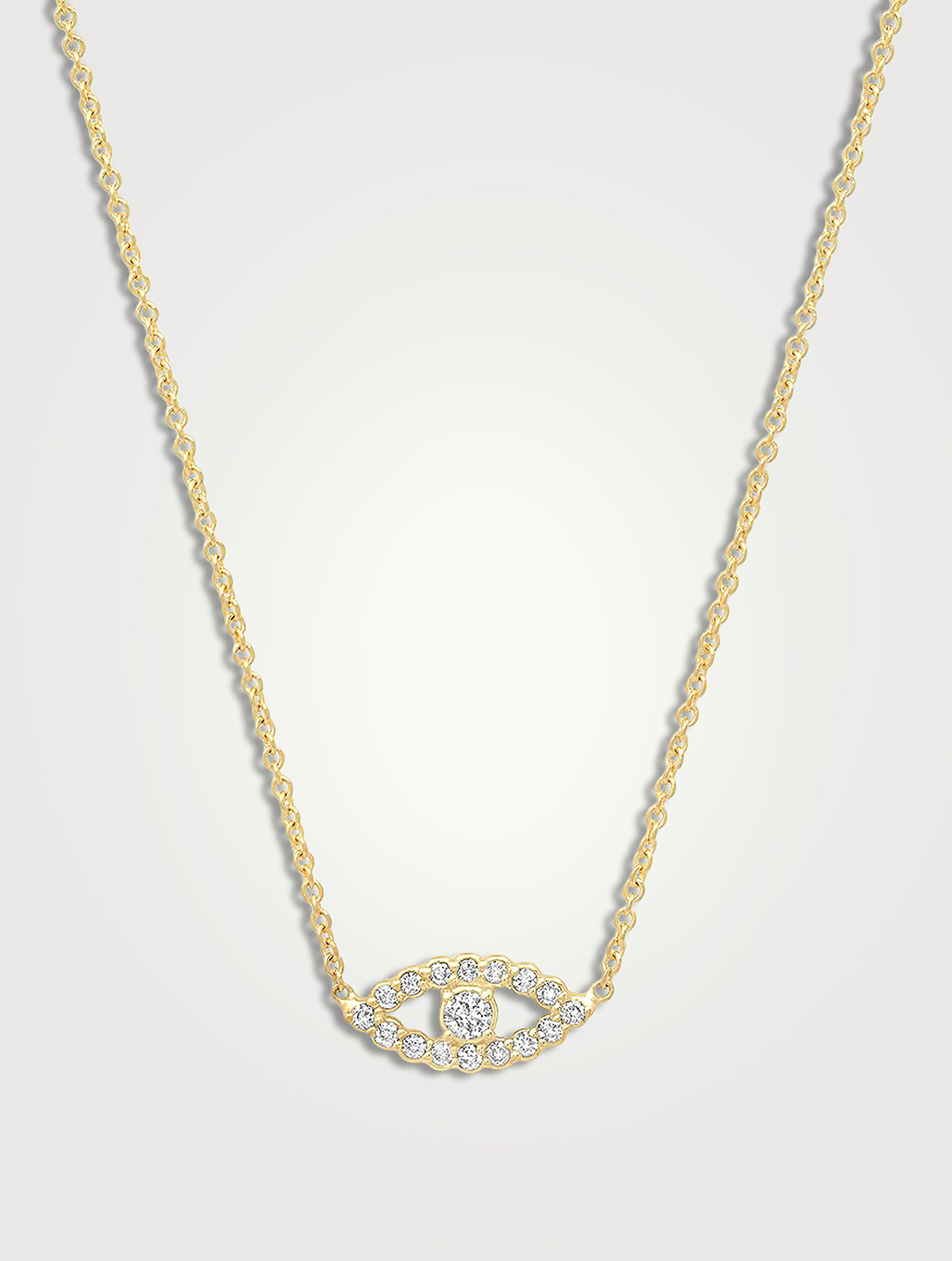 JENNIFER MEYER Mini 18K Gold Open Evil Eye Necklace With Diamonds Women's Metallic