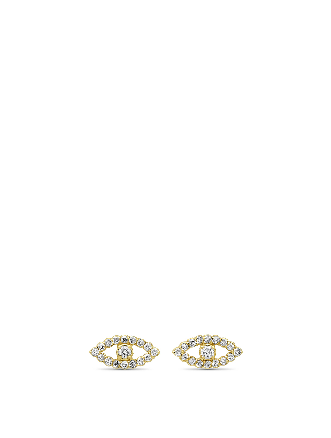 JENNIFER MEYER Mini 18K Gold Open Evil Eye Stud Earrings With Diamonds Women's Metallic