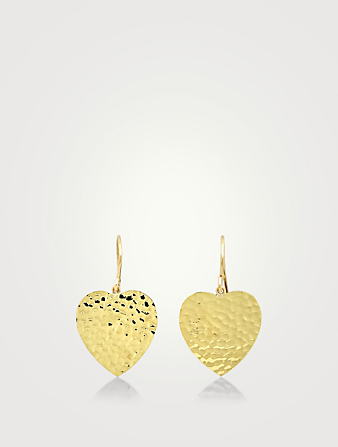 JENNIFER MEYER 18K Gold Hammered Heart Drop Earrings Women's Metallic