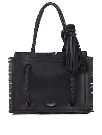 VALENTINO GARAVANI Small The Rope Leather Tote Bag Women's Black