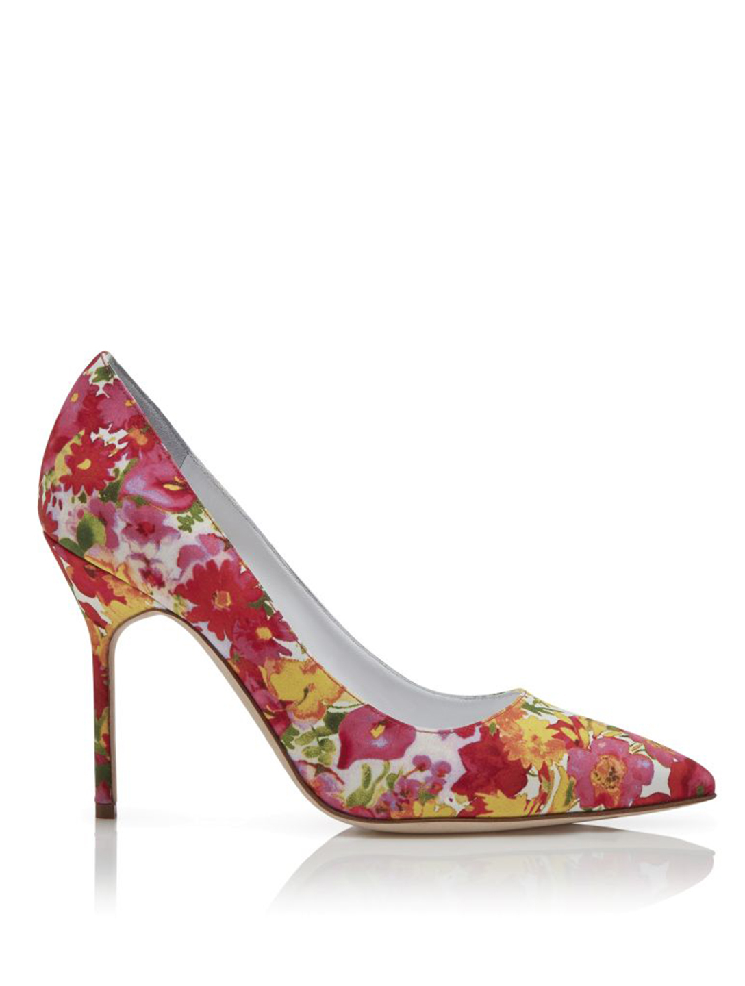 MANOLO BLAHNIK BB 105 Fabric Pumps In Floral Print Women's Pink